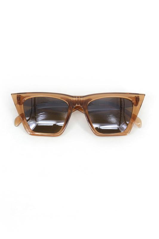 Designer Cat Eye Köşeli Kahverengi Camlı Bayan Güneş Gözlüğü Açık Kahverengi