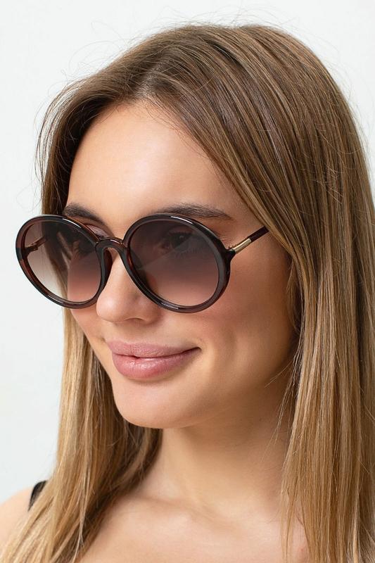 Dia Kahverengi Degrade Camlı Yuvarlak Köşeli Bayan Güneş Gözlüğü Kahverengi