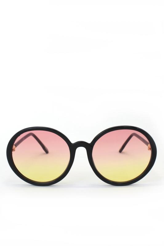 Dia Pembe Sarı Degrade Camlı Yuvarlak Köşeli Bayan Güneş Gözlüğü Siyah