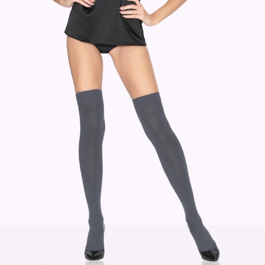 Diz Üstü Koton Çorap Antrasit
