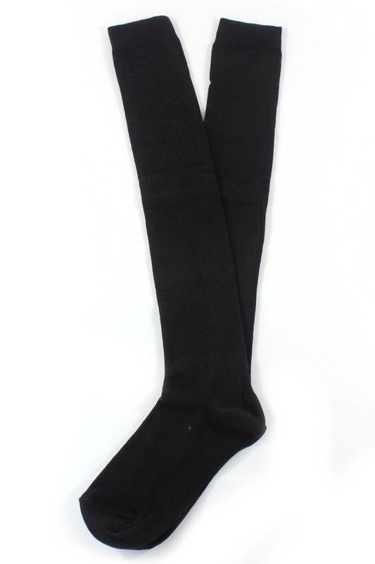 Diz Üstü Koton Çorap Siyah Beyaz 2'li Paket