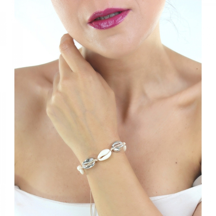 Doğal Deniz Kabuğu Bileklik Silver