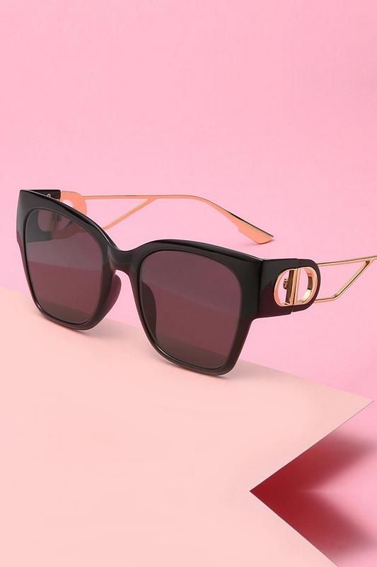 Dolce Gold Saplı Büyük Cat Eye Bayan Güneş Gözlüğü Siyah