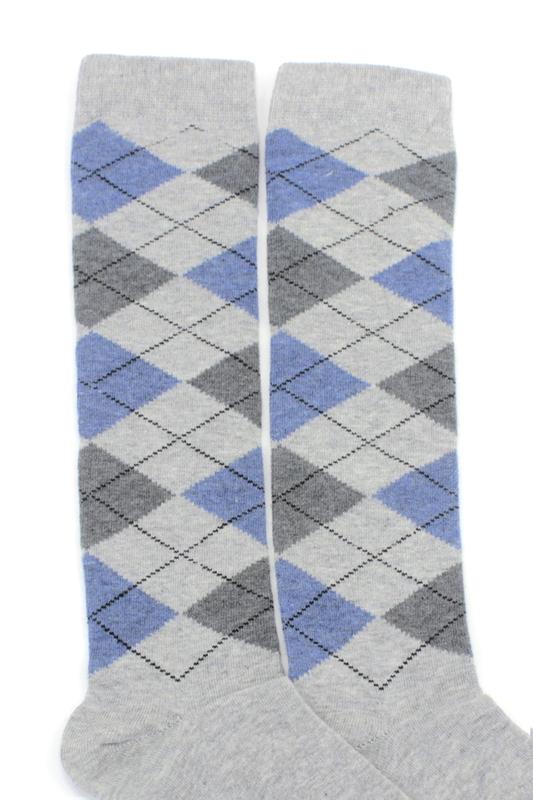 Dream Ekoseli Pamuklu Diz Altı Çorap Açık Gri