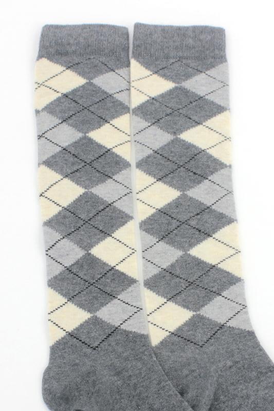 Dream Ekoseli Pamuklu Diz Altı Çorap Gri