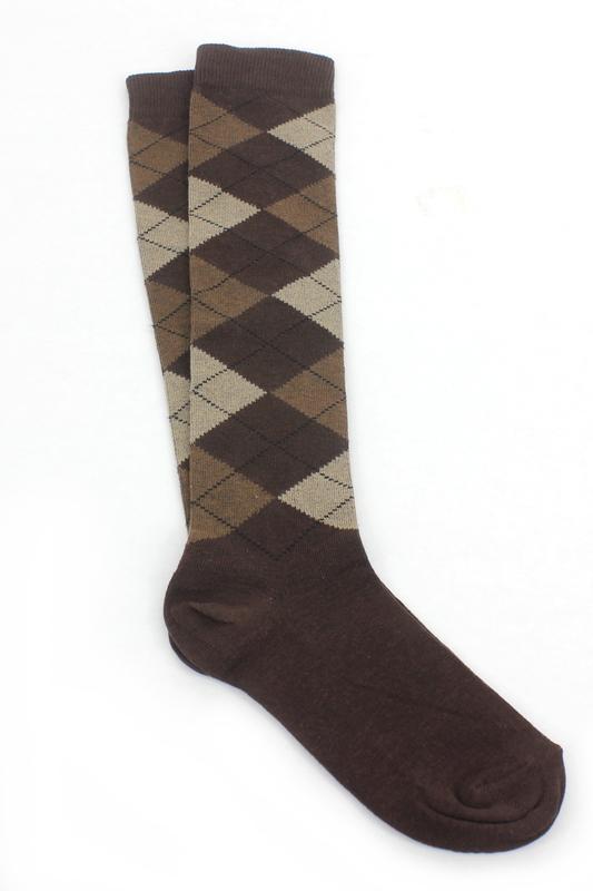 Dream Ekoseli Pamuklu Diz Altı Çorap Koyu Kahverengi