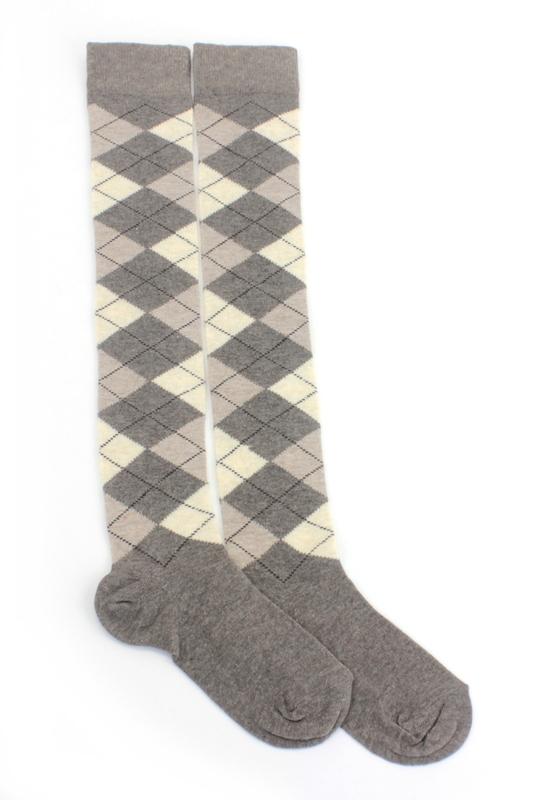 Dream Ekoseli Pamuklu Diz Üstü Çorap Kahverengi