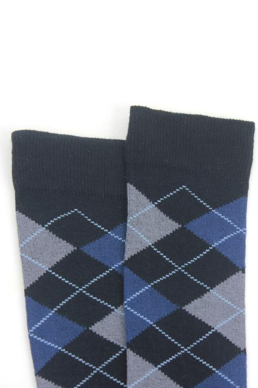 Dream Ekoseli Pamuklu Diz Üstü Çorap Lacivert