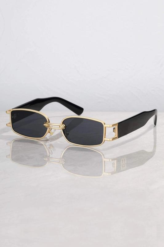Dream On Gold Metal Çerçeveli Dikdörtgen Güneş Gözlüğü Siyah
