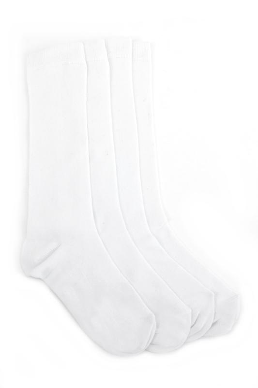 Düz Pamuklu Diz Altı Çocuk Çorabı Beyaz 4'lü Paket