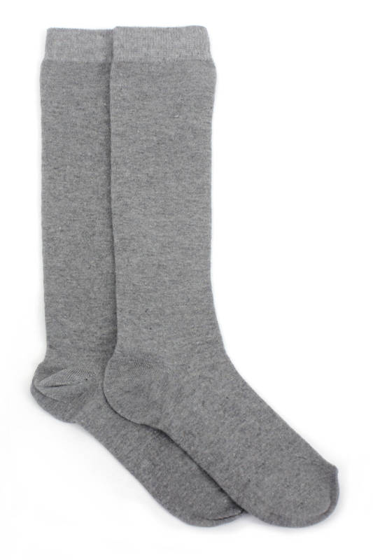 Düz Pamuklu Diz Altı Çocuk Çorabı Gri 2'li Paket