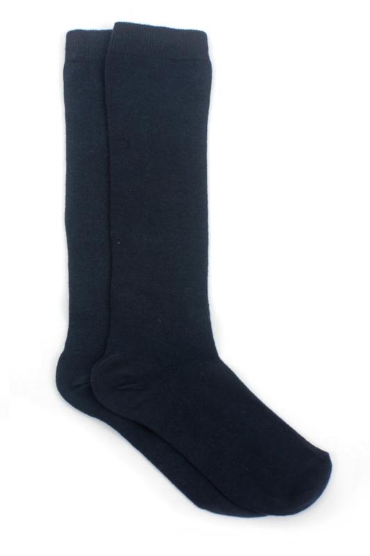 Düz Pamuklu Diz Altı Çocuk Çorabı Lacivert 2'li Paket
