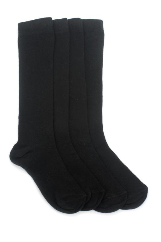 Düz Pamuklu Diz Altı Çocuk Çorabı Siyah 4'lü Paket