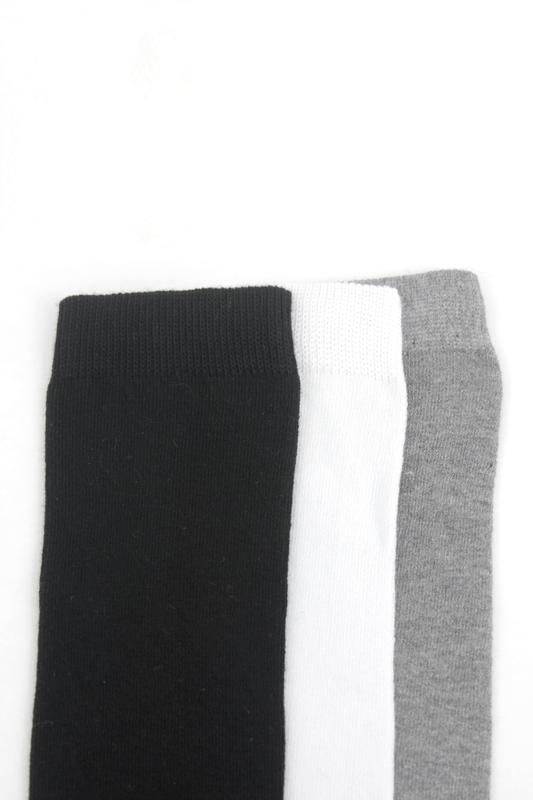 Düz Pamuklu Diz Altı Çocuk Çorabı Siyah Beyaz Gri 3'lü Paket