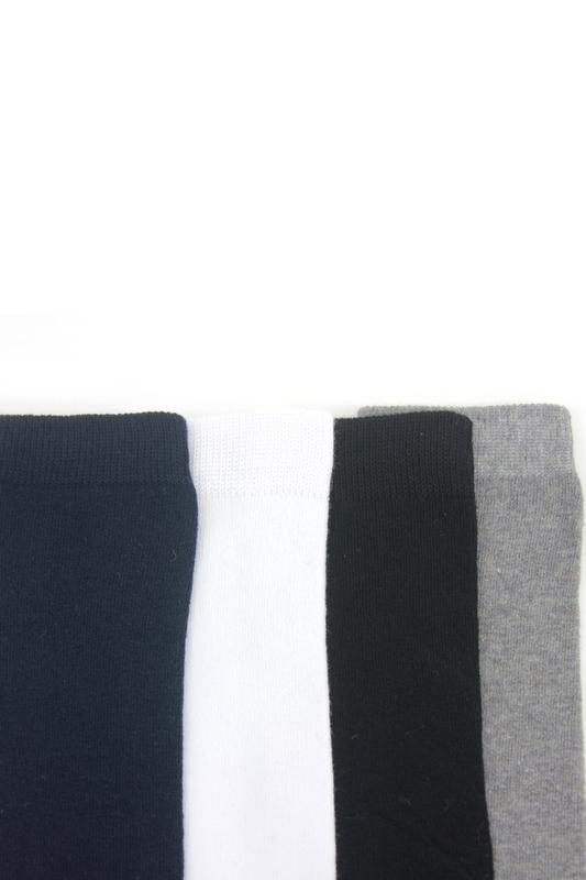 Düz Pamuklu Diz Altı Çocuk Çorabı Siyah Beyaz Gri Lacivert 4'lü Paket