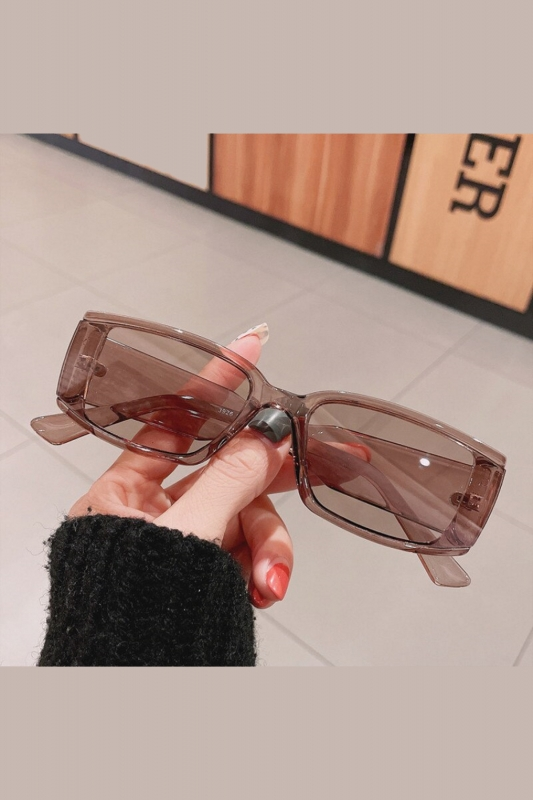 Emma Füme Camlı Dikdörtgen Çerçeveli Bayan Güneş Gözlüğü Açık Kahverengi