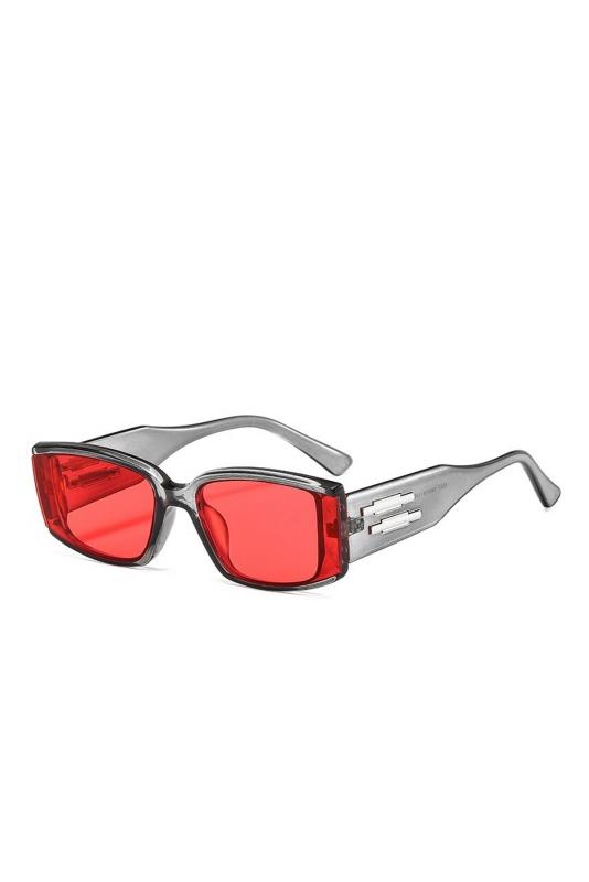 Emma Kırmızı Camlı Dikdörtgen Çerçeveli Erkek Güneş Gözlüğü Füme Gri