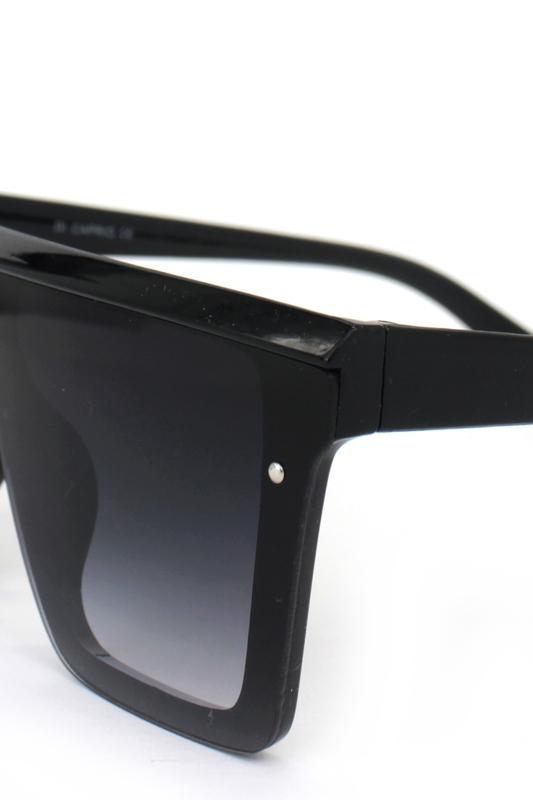 Fashion Üstü Düz Büyük Dikdörtgen Siayh Degrade Camlı Unisex Güneş Gözlüğü Siyah