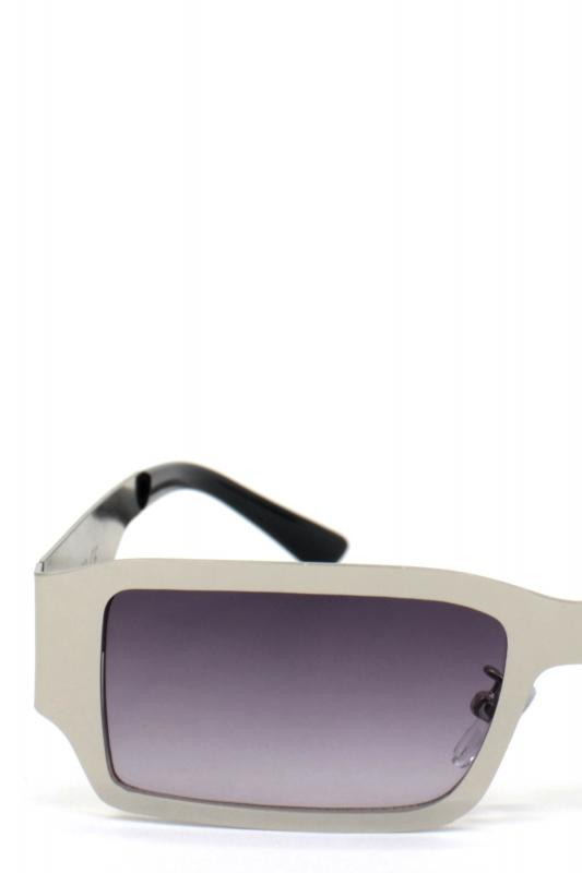 Fern Füme Degrade Camlı Dikdörtgen Metal Erkek Güneş Gözlüğü Gümüş