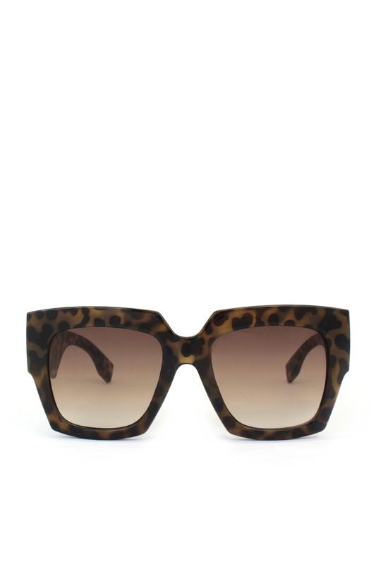 Fern Kahverengi Degrade Camlı Büyük Kare Bayan Güneş Gözlüğü Leopar