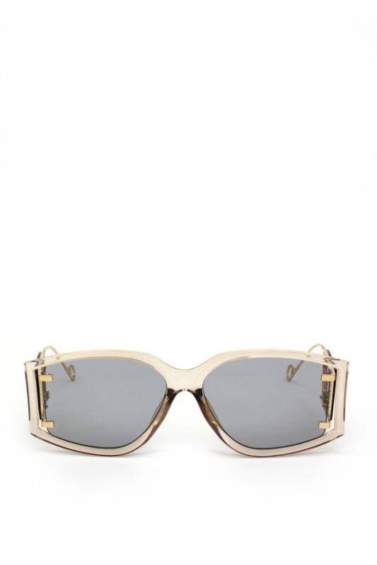 Flex Gold Metal Çerçeveli Özel Tasarım Bayan Güneş Gözlüğü Bej