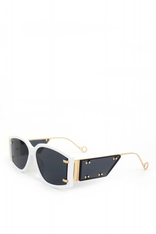 Flex Gold Metal Çerçeveli Özel Tasarım Bayan Güneş Gözlüğü Beyaz