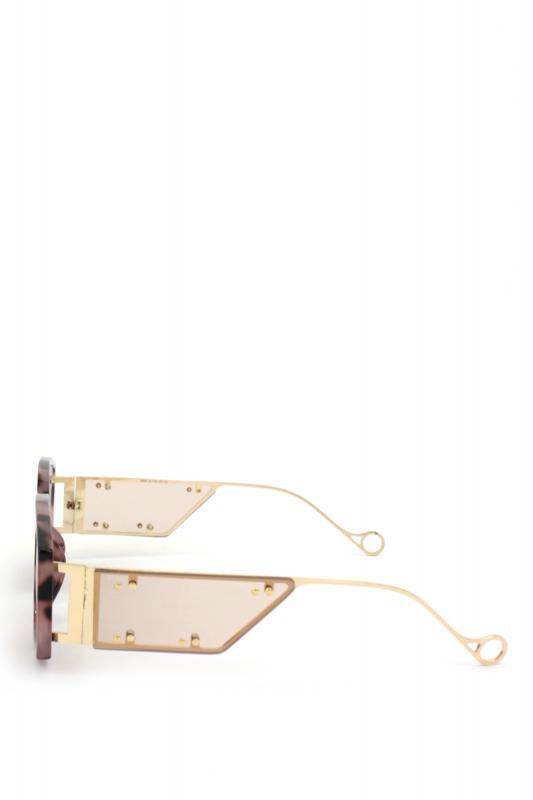 Flex Gold Metal Çerçeveli Özel Tasarım Bayan Güneş Gözlüğü Pembe Leopar