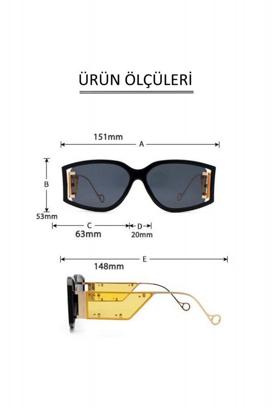 Flex Gold Metal Çerçeveli Özel Tasarım Bayan Güneş Gözlüğü Sarı Siyah
