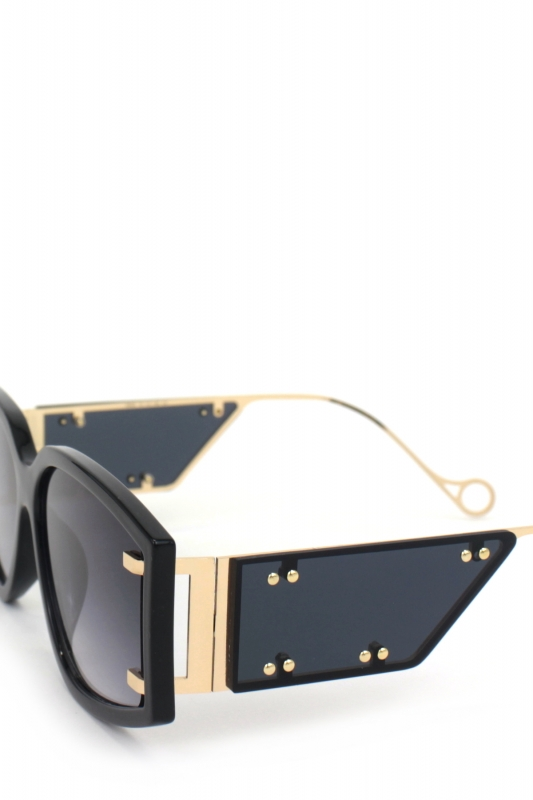 Flex Gold Metal Çerçeveli Özel Tasarım Bayan Güneş Gözlüğü Siyah