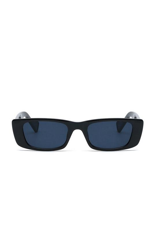 Flossy Köşeli Dikdörtgen Çerçeveli Bayan Güneş Gözlüğü Siyah