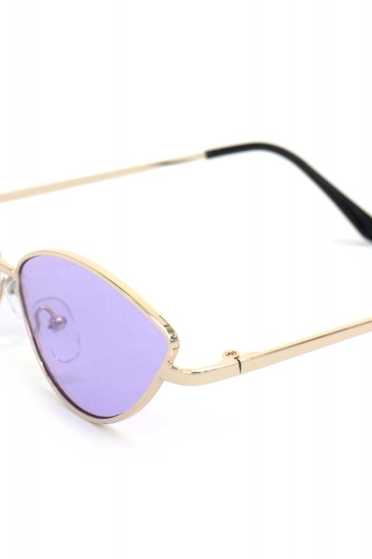 Gentle Gold Metal Çerçeveli Küçük Cat Eye Erkek Güneş Gözlüğü Mor