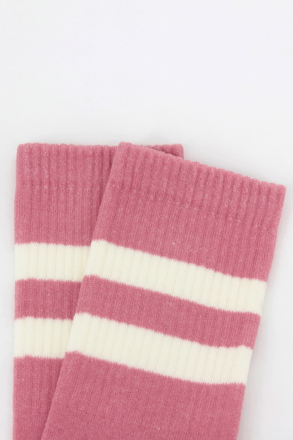 Get Going Beyaz Çizgili Kısa Koton Spor Çorap Pembe