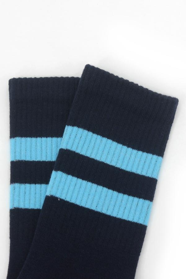Get Going Mavi Çizgili Kısa Koton Spor Çorap Lacivert