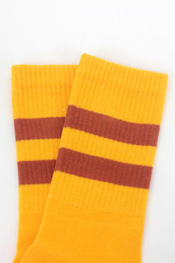 Get Going Turuncu Çizgili Kısa Koton Spor Çorap Sarı