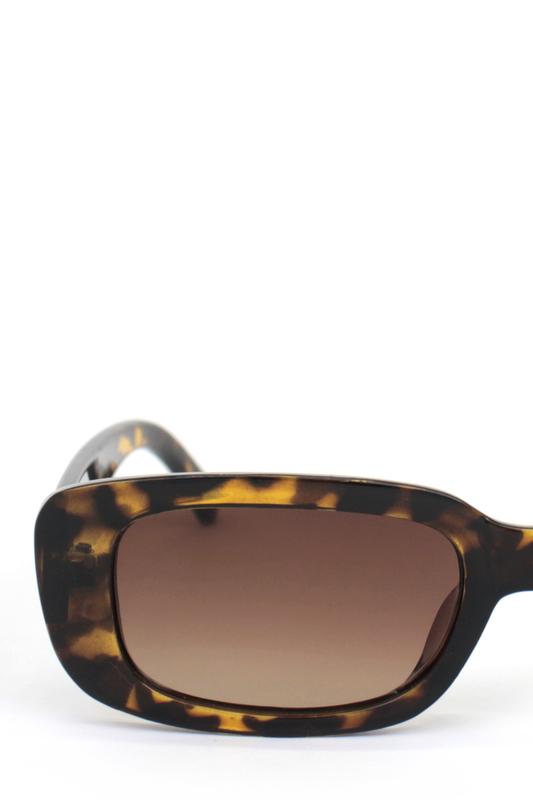 Ginger Kahverengi Camlı Dikdörtgen Güneş Gözlüğü Leopar