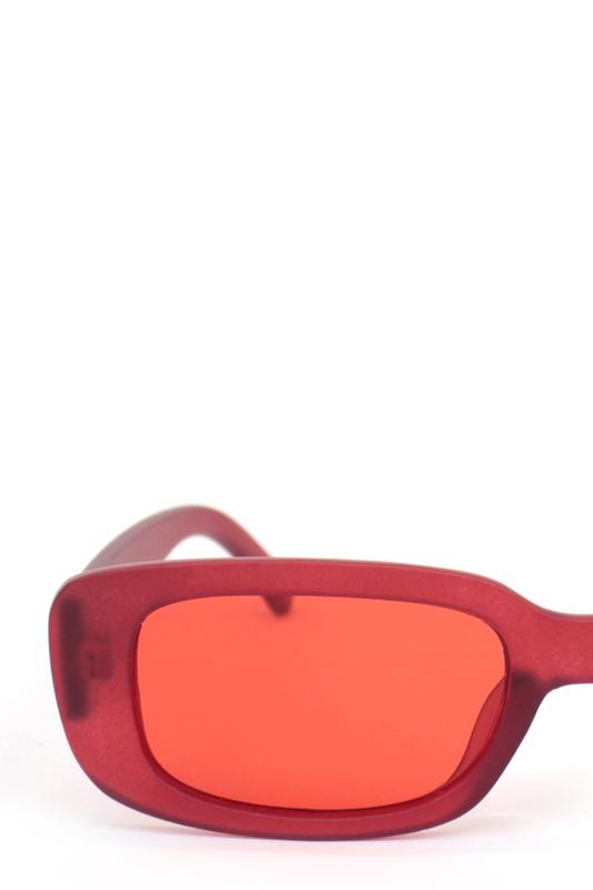 Ginger Kırmızı Camlı Dikdörtgen Güneş Gözlüğü Mat Kırmızı