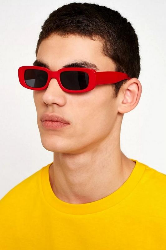 Ginger Siyah Camlı Dikdörtgen Erkek Güneş Gözlüğü Kırmızı