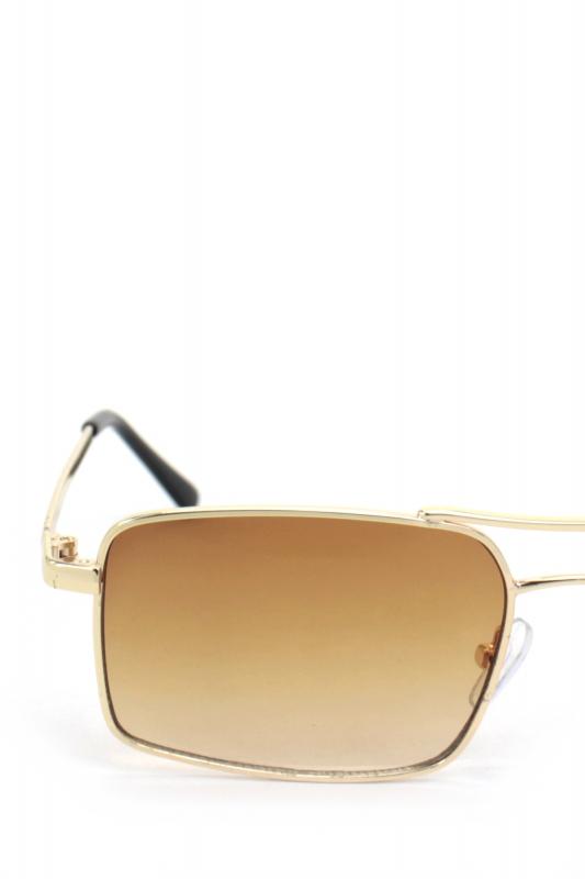 Gisele Gold Metal Çerçeveli Dikdörtgen Bayan Güneş Gözlüğü Kahverengi