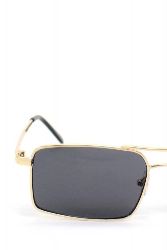 Gisele Gold Metal Çerçeveli Dikdörtgen Bayan Güneş Gözlüğü Siyah