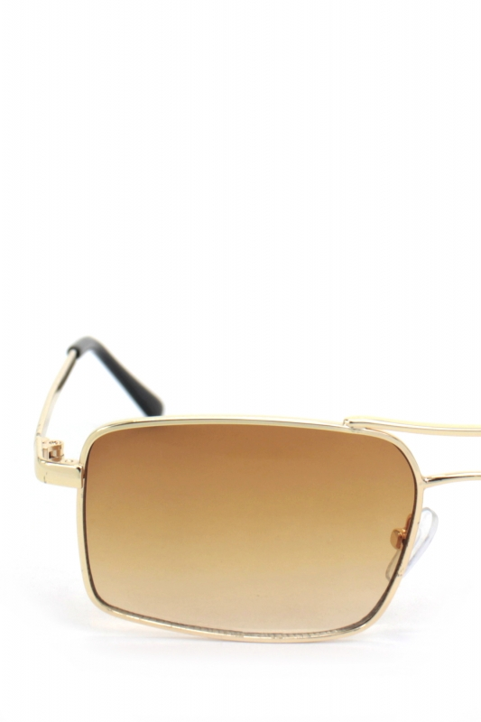 Gisele Gold Metal Çerçeveli Dikdörtgen Erkek Güneş Gözlüğü Kahverengi