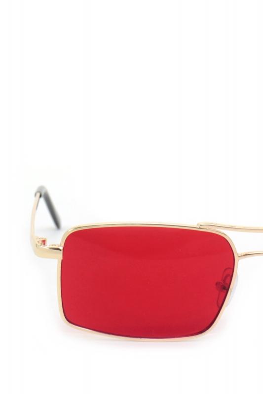 Gisele Gold Metal Çerçeveli Dikdörtgen Erkek Güneş Gözlüğü Kırmızı