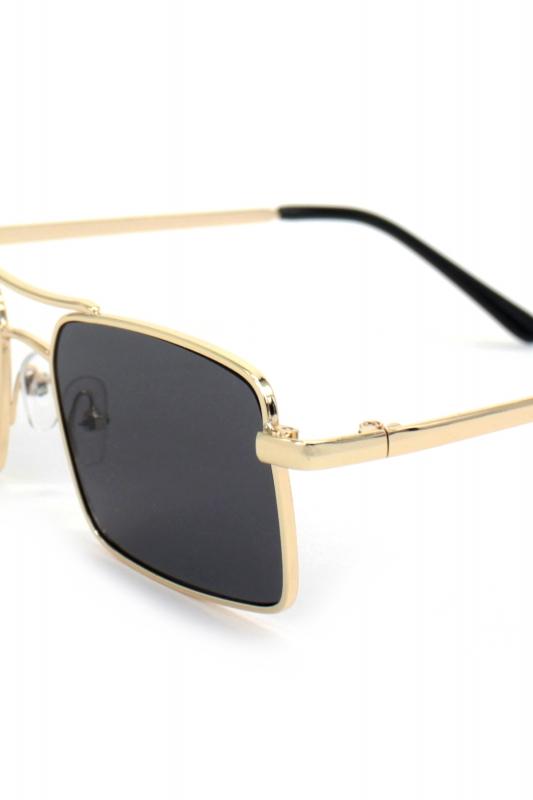 Gisele Gold Metal Çerçeveli Dikdörtgen Erkek Güneş Gözlüğü Siyah