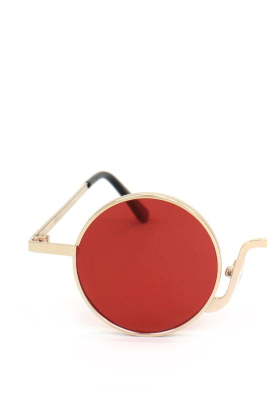 Glastonbury Retro Gold Metal Çerçeveli Küçük Yuvarlak Güneş Gözlüğü Kırmızı