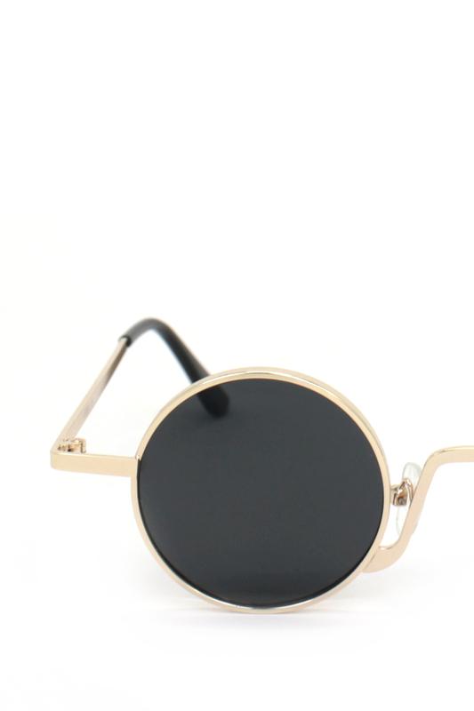Glastonbury Retro Gold Metal Çerçeveli Küçük Yuvarlak Güneş Gözlüğü Siyah