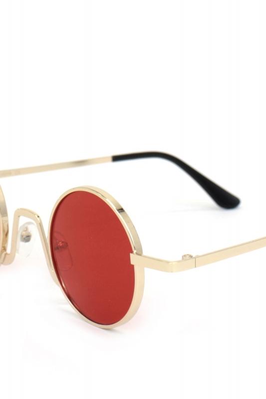 Glastonbury Retro Gold Metal Çerçeveli Yuvarlak Erkek Güneş Gözlüğü Kırmızı