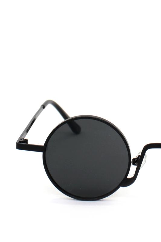 Glastonbury Retro Siyah Metal Çerçeveli Küçük Yuvarlak Güneş Gözlüğü Siyah
