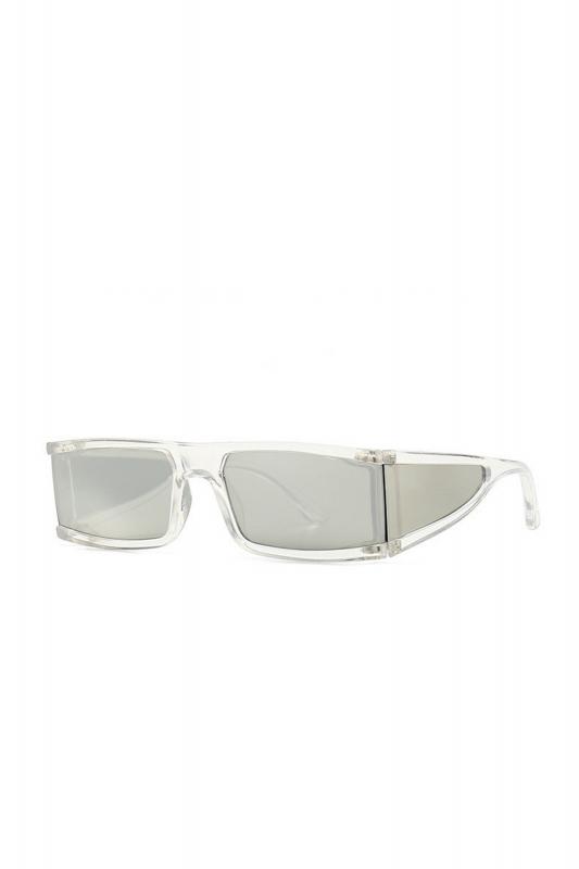 Glorious Aynalı Camlı Yanları Kalkanlı Dikdörtgen Çerçeveli Erkek Güneş Gözlüğü Şeffaf
