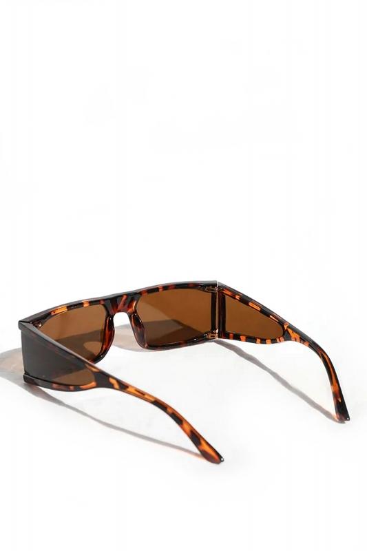 Glorious Kahverengi Camlı Yanları Kalkanlı Dikdörtgen Çerçeveli Erkek Güneş Gözlüğü Leopar