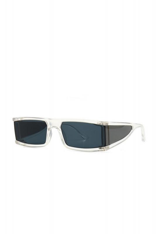 Glorious Siyah Camlı Yanları Kalkanlı Dikdörtgen Çerçeveli Erkek Güneş Gözlüğü Şeffaf