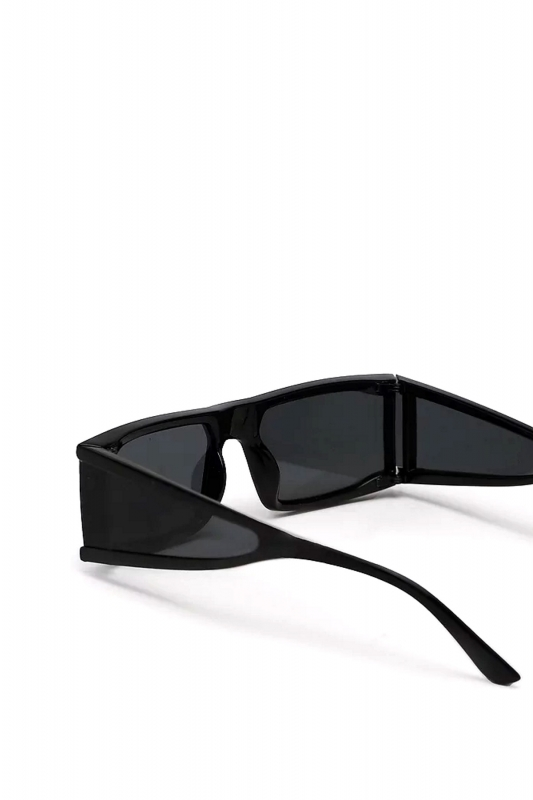 Glorious Siyah Camlı Yanları Kalkanlı Dikdörtgen Çerçeveli Erkek Güneş Gözlüğü Siyah